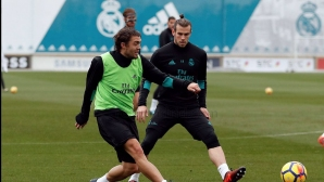 Bale is ready, and Ramos puts the mask
